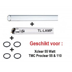 Replacement set 55 Watt TL UV-C lamp & Quartz Glass and rubbers